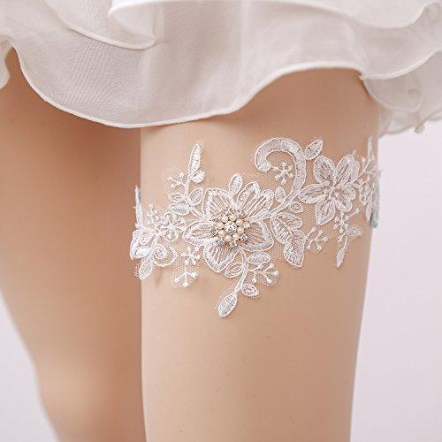 Lace Wedding Garter, Gift for Bride, Flower Bridal Keepsake Garter Toss Garter (White Flower with Lucy Charm (Keepsake Bridal Garter)
