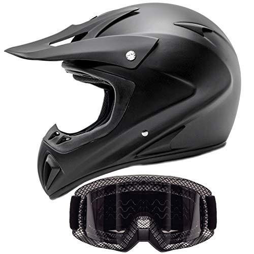 Carbon Fiber Motocross Helmet - Adult Offroad Helmet & Goggles Gear Combo, Black w/Carbon Fiber (Medium)
