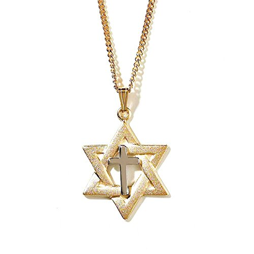 Of Charm David Elegant Star (Star Of David With SIlver-Tone Cross Center Gold-Plated 18-Inch Pendant Necklace)