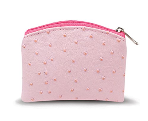 WJ Hirten Pink Leatherette Rosary Pouch Case with Zipper Close and Satin Lining, 4 Inch