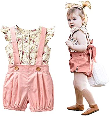 2PCS Baby Kids Girls Tops T-Shirt Suspender Trousers Shorts Set Overalls for 1-6Y Girls Outfits Clothing Clothes