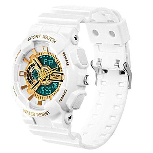 (Boys Waterproof Watch with Alarm Chronograph Electronic Outdoor Sport Wrist Watch White+Gold)