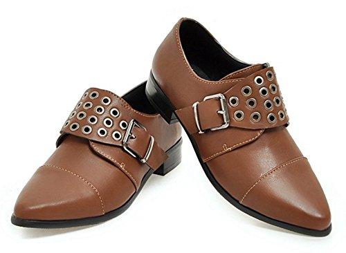 Aisun Femmes Vintage Bout Pointu Boucle Sangle De Monk Habillé Slip Sur Talons Bas Pompes Chaussures Marron
