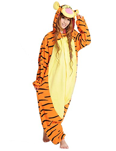 Tigger Onesie for Adult. Fleece Animal Pajama Costume for Women, Men and Teenagers(Large, Tigger)]()