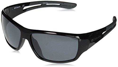 Columbia Men's Utilizer Polarized Wrap Sunglasses, Shiny Black W/Grey Rubber, 62 mm