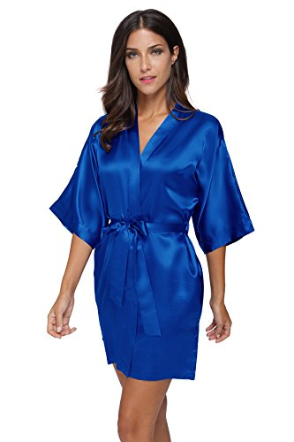 The Bund womens Pure Colour Short Kimono Robes with Oblique V-Neck Blue XX-Large