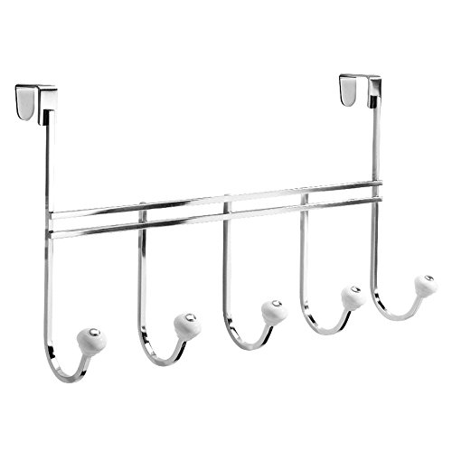 InterDesign York Over Door Storage Rack – Organizer Hooks for Coats, Hats, Robes, Clothes or Towels – 5 Hooks, Chrome by InterDesign