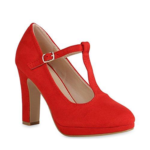 Stiefelparadies Janes Blockabsatz Damen Flandell Mary Strap Rot Pumps mit T rtrqa