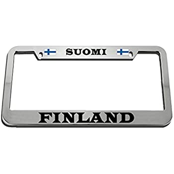 FINLAND FINNISH FLAG BLACK License Plate Frame Tag Holder