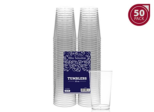 50-Pack of 10 Oz. Disposable Clear Plastic Cups