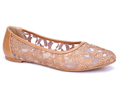 (Greatonu Women Shoes Cut Out Slip On Synthetic Lace Ballet Flats (9 US/40 EU, Camel))