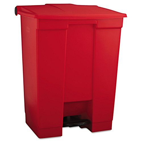 Rubbermaid Commercial Slim Jim Front Step On Trash Can, Red, 18 Gallon