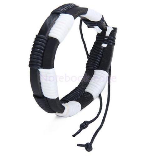 Men's Double Layer Black White Leather Hemp Surf Bracelet Wristband Biker Punk (Double Hemp Layer)