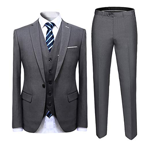 Cloudstyle Mens Suit Solid Color Formal Business One Button 3-Piece Suit Wedding Slim Fit Grey