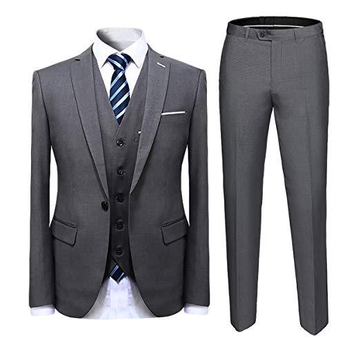 Cloudstyle Mens Suit Solid Color Formal Business One Button 3-Piece Suit Wedding Slim Fit Grey (3 Button Solid Suit)