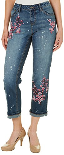 Earl Jean Womens Cherry Blossom Embroidered Ankle Jeans 10 Dark Wash Blue