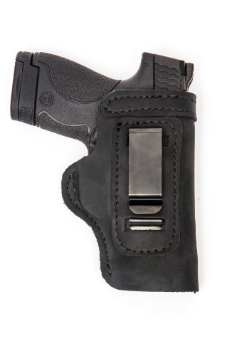 m 40Cal Pro Carry LT CCW IWB Leather Gun Holster New Black ()