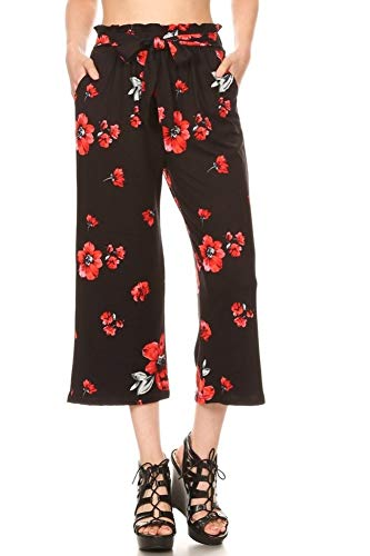 ShoSho Womens Paper Bag Waist Cropped Pants Casual Wide Leg with Pockets Floral Print Black/Red Medium ()