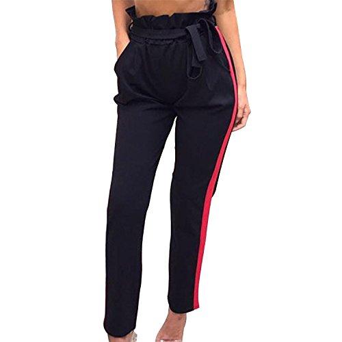 Lisli Pantalon Casual Femme Pant Collant Legging Jogging Fintess Rayures Printemps Et Sport Gym Noir