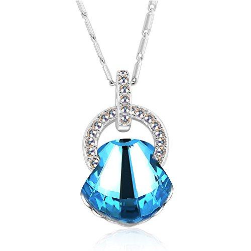 St.Ushine Cute Seashell Half Circle Crystal Pendant Necklaces for Women Girls Birthday Festival Gift (Seashell necklaces- Aqua Blue) (Seashell Gift)