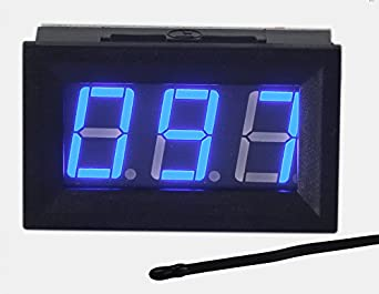 UCTRONICS 0-167 F Fahrenheit Digital Temperature Meter Blue LED Display MF55 Type NTC Thermistor Temp Sensor 2-wires Reverse Polarity Protection with Black Case