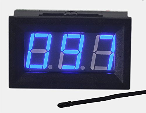UCTRONICS 0-167°F Fahrenheit Digital Temperature Meter Blue LED Display MF55 Type NTC Thermistor Temp Sensor 2-wires Reverse Polarity Protection with Black Case