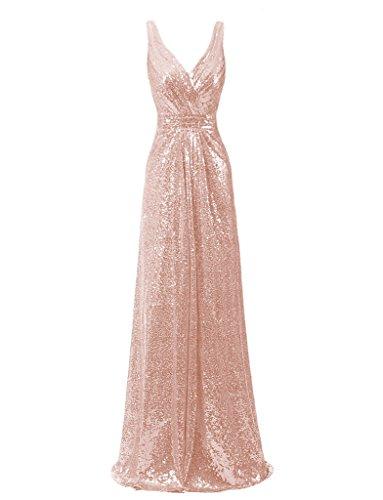 Ysmo 2016de la mujer cuello en V largo de lentejuelas vestido de noche Prom Fiesta de caída Pink Gold