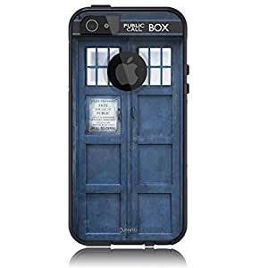 Case For Sam Sung Galaxy S5 Cover Case [Black] Tardis Dr Who [Dual Layer] UnnitoTM *1 Year Warranty* Case Protective [Custom] Commuter Protection Cover Case For Sam Sung Galaxy S5 Cover S