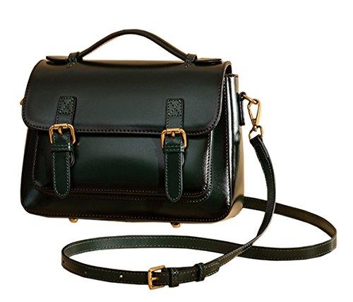Mujer Shoppers Pasto hombro SAIERLONG Verde Genuina Piel bolsos de y Oscuro Nueva Verde CZqYg5xwU