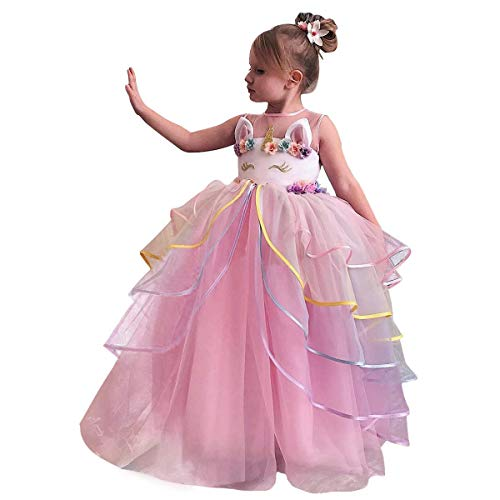 Girls Long Unicorn Dress up Costume Princess Pageant Wedding Party Floor Length Tulle Dress Puffy Ruffle Tutu Skirt Birthday Outfit Halloween Dance Ball Gown for Kids Photo Shoot Cosplay Pink 5-6Y]()