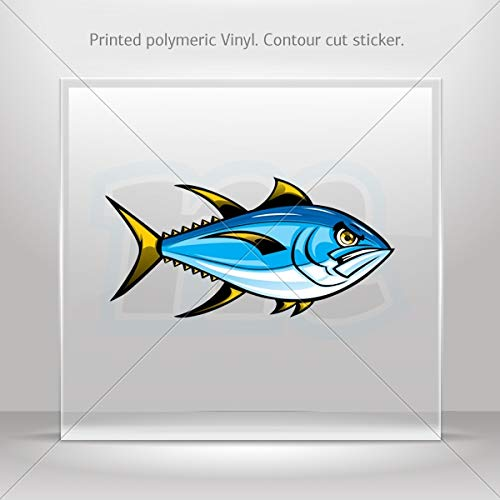 Fishes Various sizes Decal Stickers Angry Yellowfin Tuna Decoration Motorbike Racing Garage (6 X 2.92 - Trolling Yellowfin Tuna