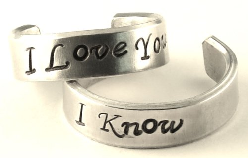 I Love You - I Know - A Pair of Han & Leia - Hand Stamped Rings by Hand Trades (Image #1)'