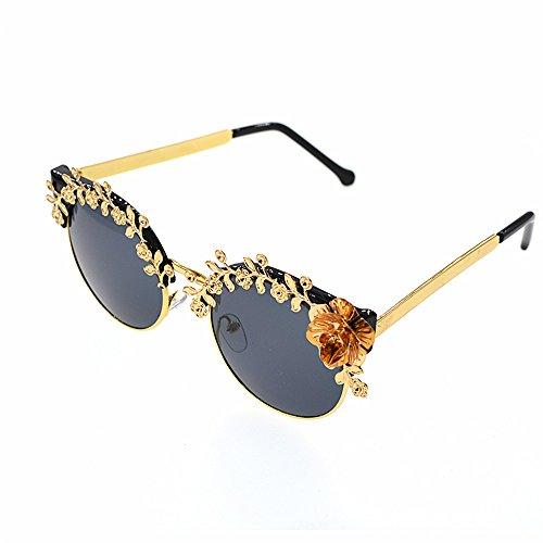 de de Mujeres la para de del Las Ligero Gafas Sol de Mano de Las de Ultra de Hechas Gafas la Metal Sol UV Flor del barrocas protección Retro conducción Lujo Oro a Mujeres Color nxw5qPt