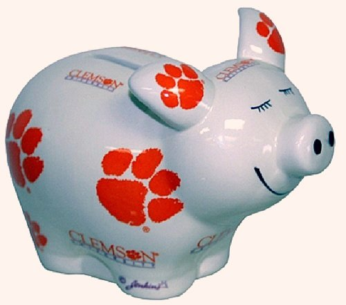 Clemson Tigers Piggy Bank - Game Day Outfitters NCAA Clemson Tigers Logo All Over Piggy Bank, One Size, Multicolor