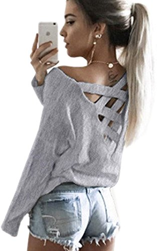 Minetom Mujer Camiseta Blusa Mangas Largas Elegante Espalda Escote V Oficina Casual Atractivas De La Blusa Gris