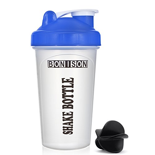 Clearance Sale Mix Whip Blend   Shake Clear Classic Colored Screw Top Shaker Bottle Sport Mixer Smoothie Protein Weight Loss Shakes   Powders  14Oz Blue