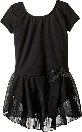 Capezio Big Girls' Short Sleeve Nylon Dress,Black,L (12-14)