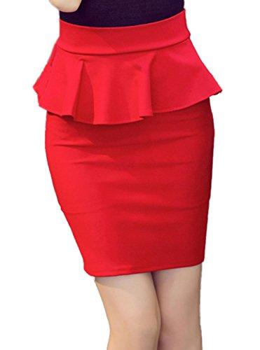 t Femme Elgante Fashion Couleur Unie Volant Mini Jupe Sexy Moulante Package Hanche Business Jupes de Soire Cocktail Rouge