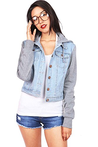 Celebrity Pink Women's Classic Varsity Hoodie Denim Jacket (M, Denim) - Denim Varsity Jacket