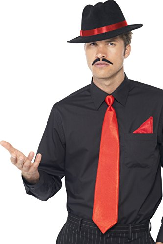 40's Mobster Costumes (Smiffy's Men's Gangster  Set, Trilby, Tie & Handkerchief, Red, One Size, 33109)