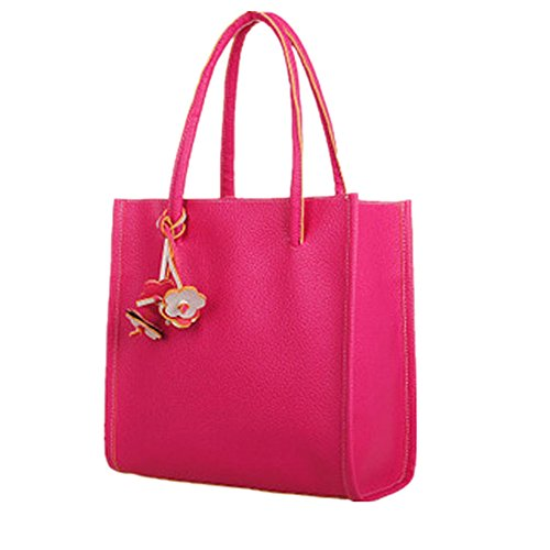 Guess Pink Leather Strap - Birdfly Cute Floral Decorate PU Leather Shoulder Bag Handbags Tote for Women Girl (one size, Hot Pink)