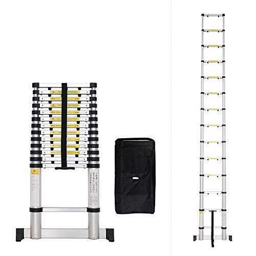 Todeco – Escalera Telescópica, Escalera Plegable – Carga máxima: 150 kg – Número de peldaños: 14-4,1 Metro(s), Bolsa de…