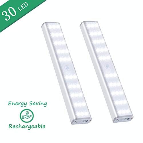 Under Cabinet Lighting,Vikano 20 LED Motion Sensor Closet Light Rechargeable,3 Color Mode Wireless Battery Operated Lights Bar for Kitchen Stair Hallway Under Counter Lighting Stick on Lights (2 Pack)