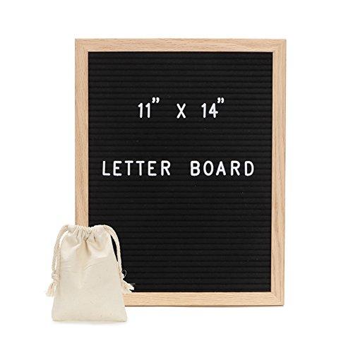 Felt Letter Board - Black Changeable Letter Board with Letters, Numbers & Lovely Emojis   Black Felt Board, Oak Wood Frame,Wall Mount & 1 Free Canvas Bags by Sensphi