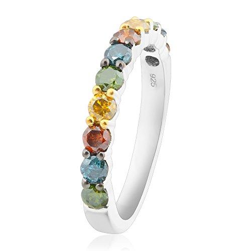 Prism Jewel 1.00 Carat Round Multi Color Diamond Anniversary Band, 10k White Gold, Size 6.5 (Anniversary Jewel)