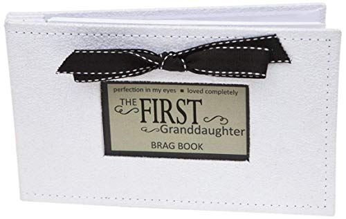 Grandparent Gifts 1st Granddaughter Brag Book white faux-suede Hold 32 4x6 image ()