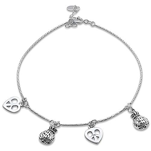 (Oxford Diamond Co Plain Filigree Charm .925 Sterling Silver Anklet 9
