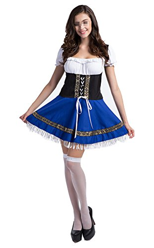 Plus Size Bavarian Womens Costumes Girl (Women's Oktoberfest Lederhosen Costume Bar Maid Cosplay Costume Dresss)