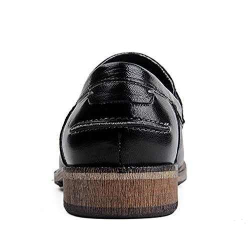 Insun Round Shoes Leather Loafer Black Toe Men's rS8Eqr