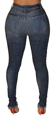 Pantalons dchires bleu Jeans Femmes Bodycon Dtruit Cut Distressed Skinny Off Pantalon marin Denim dcontract PCHdqwC